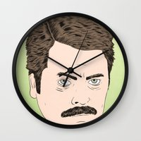 ron swanson Wall Clocks featuring Ron Swanson by Chase Kunz
