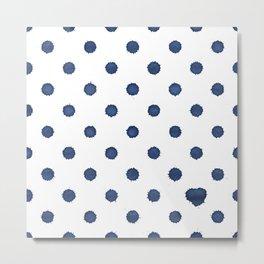 Polka Drops - bigger dots - with a little heart - nightblue Metal Print