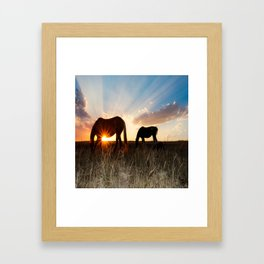 The Girls and a Dog Framed Art Print
