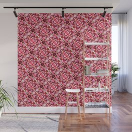 Red and pink flower pattern Wall Mural