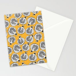 Pomegranate fruits on yellow background Stationery Cards