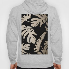 Simply Palm Leaves in White Gold Sands on Midnight Black Hoody