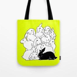 Black & White & Yellow Rabbits Tote Bag