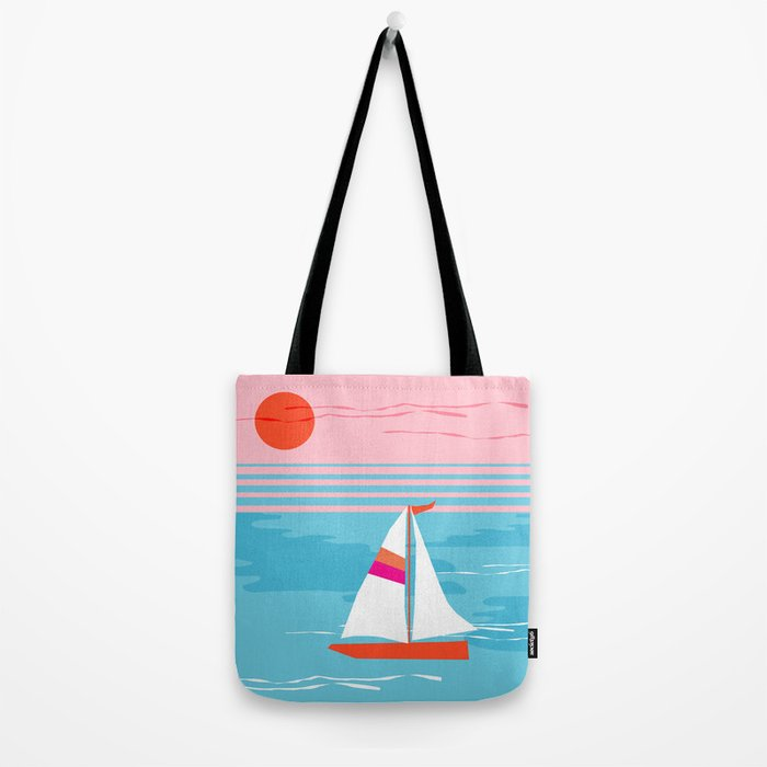 Mellow Out - memphis throwback retro classic neon yacht boating sailboat ocean sea 1980s 80s pop art Tote Bag