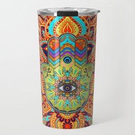 Colorful  Hamsa Hand -  Hand of Fatima Travel Mug