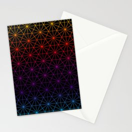 Sacred Geometry Pattern Grid - colorful rainbow Stationery Cards