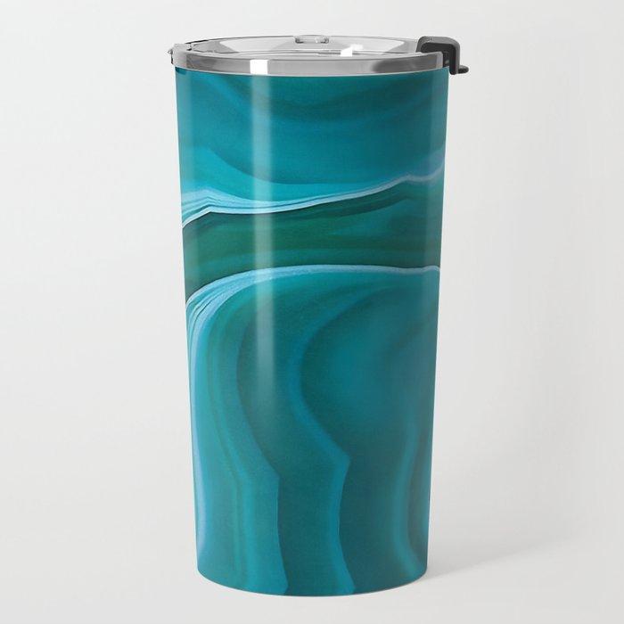 Agate sea green texture Travel Mug