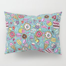 Pattern with candy, ice cream, candy, donuts, cupcake, macaroons and other sweets Pillow Sham