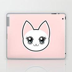 White Anime Eyes Cat Laptop & iPad Skin