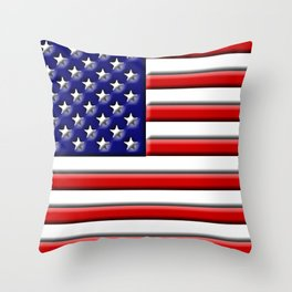 Stars and 3D Stripes Throw Pillow