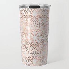 Rose Gold Mandala Marble Travel Mug