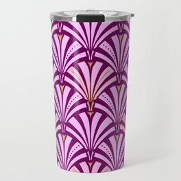 Art Deco Fan Pattern, Orchid and Amethyst Purple Travel Mug