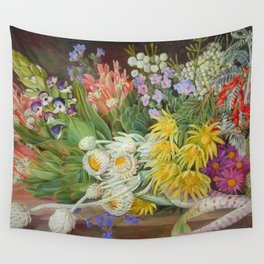 Medley of Wild Summer Mountain Flowers still life painting Wall Tapestry