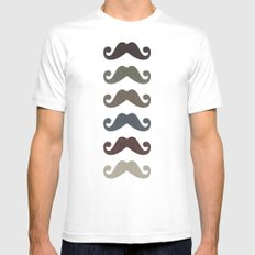 Stache Attack MEDIUM White Mens Fitted Tee