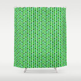 Mid Century Danish Leaves, Emerald and Lime Green Shower Curtain