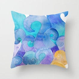 Ocean waves ornament Throw Pillow