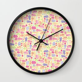 Pastel Guinea Pig Vegetable Patch Wall Clock