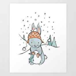 Bunny Winter Wonderland Art Print