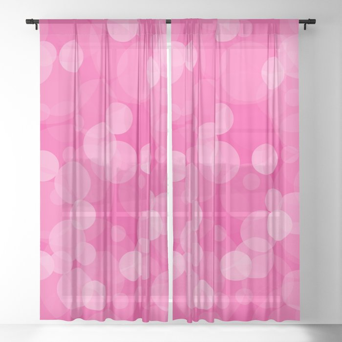 Pink Bubbles 4 Sheer Curtain