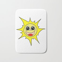 Drawn by hand a funny happy smiling sun for children and adults Bath Mat
