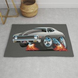 Classic American Muscle Car Hot Rod Cartoon Rug