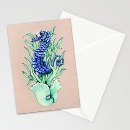 Blue Sea Horse Stationery Cards