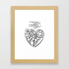 Valentines day steampunk card  Framed Art Print