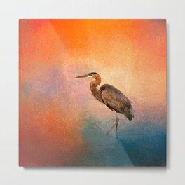 Sunset Heron Metal Print