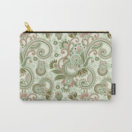 Oriental Persian Paisley, Swirls - Green Pink Carry-All Pouch