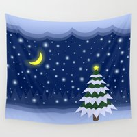 fairytale Wall Tapestries featuring Christmas fairytale by Natalia Bykova