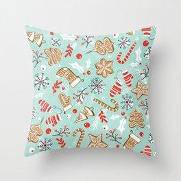 Gingerbread Dreams - Aqua Throw Pillow
