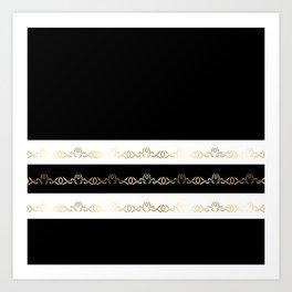 Black White Gold Pattern Art Print