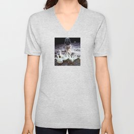 Goats Peter guards goose on the moon... Unisex V-Neck