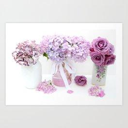 Lavender Purple Hydrangeas Floral  Art Print