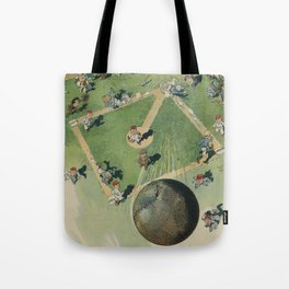 Vintage Baseball Home Run - Birds Eye View Illustration Tote Bag