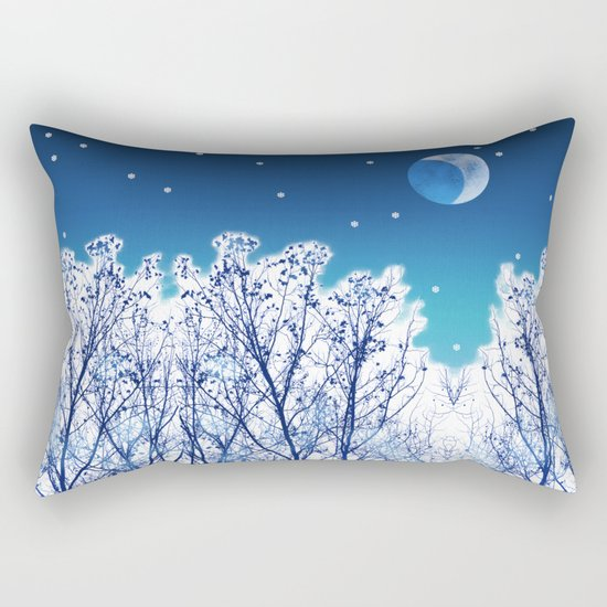 White Woods Snow Rectangular Pillow