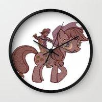 my little pony Wall Clocks featuring My Little Remington Pony by Ancora Imparo