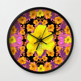 TROPICAL YELLOW & GOLD AMARYLLIS FLOWERS PATTERN ON Wall Clock