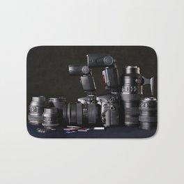 Set of photographs DSLR camera, lens and flash Bath Mat