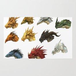 wings of fire head dragon Rug