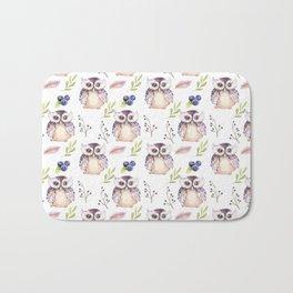 Watercolor Owl Pattern Bath Mat