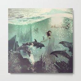 The Sea Unicorn Lady Metal Print