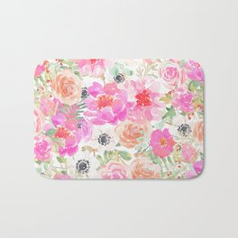 Modern pink coral watercolor hand painted floral Bath Mat