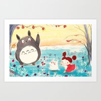 studio ghibli Art Prints featuring Fan-art Studio Ghibli  by Maureen Poignonec
