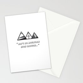 Geometric mountains, christian art, cross, 3 mountains, 3, ain't no mountain high enough qoute Stationery Cards