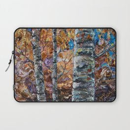 Birch Trees with Palette Knife by OLena Art for @society6 Laptop Sleeve
