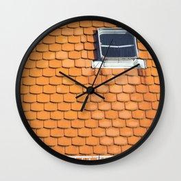Tiled Roof After Summer Rain Wall Clock