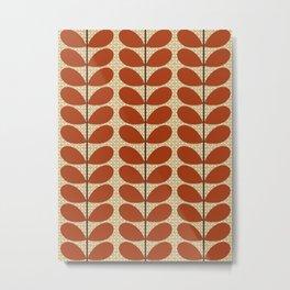 Mid Century Danish Leaves, Rust Brown and Beige Metal Print