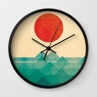 red hood Wall Clocks featuring The ocean, the sea, the wave by Picomodi