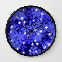 fireflies Wall Clocks featuring Fireflies by Heleen van Buul